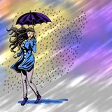 Vrouw in de regen - gekleurde achtergrond