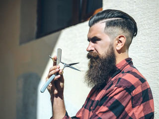 Bearded man barber