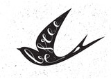 Stylized silhouette swallow with motivation quote Be free. - 123529875
