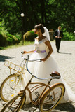 Beautiful bride with bicycles