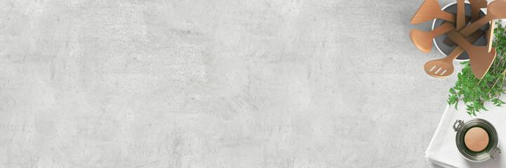 Küchenutensilien und Kräuter auf Granitplatte | Kochen - Banner mit Textfreiraum
