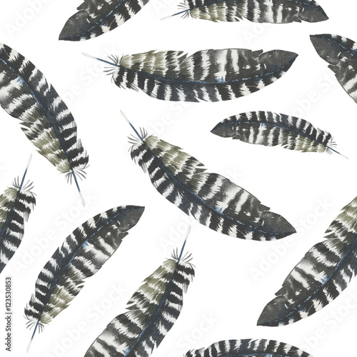 Cotton fabric Watercolor bird feather pattern from wing isolated. Aquarelle feather for background, texture, wrapper pattern, frame or border.