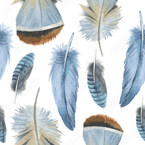 Watercolor bird feather pattern from wing isolated. Aquarelle feather for background, texture, wrapper pattern, frame or border. - 123531631