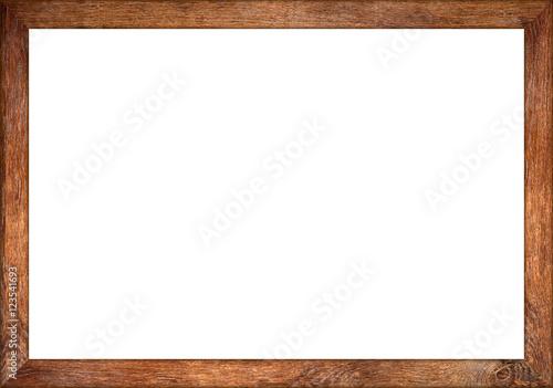 empty wooden retro picture or blackboard frame with old oak wood isolated on white background / Holzrahmen eiche alt rustikal isoliert auf weißem Hintergrund