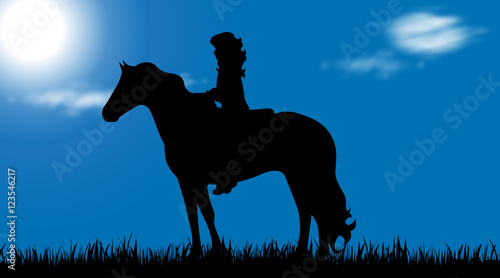 Vector silhouette of child with horse.