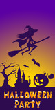 Halloween illustration of mysterious night landscape with witch fly on broom and castle. Template for your design. Vector drawing.