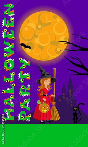 Foto op Canvas Violet Halloween illustration for print flyer greeting with castle moon and witch. Template your design. Vector drawing.