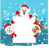 Christmas Greeting Santa Claus Rudolph Snowman Cartoon