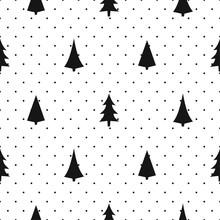 Czarno-biały prosty szwu Boże Narodzenie - zróżnicowane Xmas drzewa. Happy New Year kropki tła. wektora projektowania dla przemysłu tekstylnego, tapety, tkaniny, papier pakowy.
