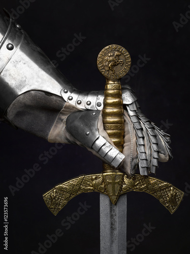 The sword of the Crusader and the knight's glove. Poster