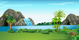 Scene with waterfall and field - 123578286