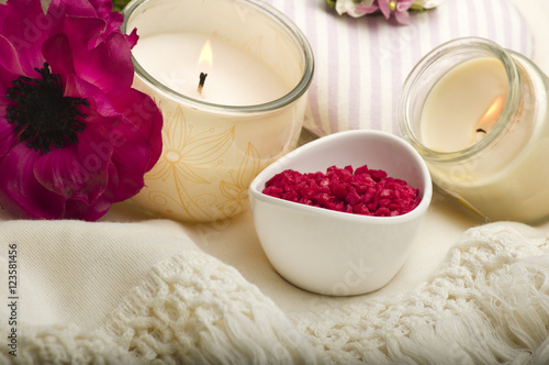Spa still life with aromatic candles,orchid flower and towel
