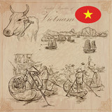 Vietnam. Pictures of Life. Vector pack. Hand drawings. - 123584894