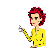 Angry woman red hair pop art drinking coffee