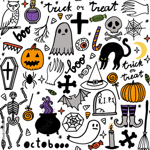 Cotton fabric Halloween seamless pattern. Vector background