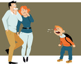 Terrified parents looking at the sneezing boy, coming from a school sick with a cold, EPS 8 vector illustration