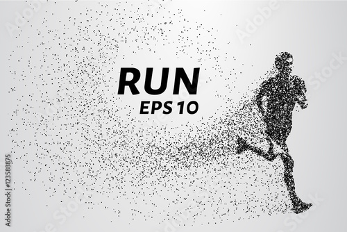 Runner of the particles. The man runs and the wind out of him pulling out pieces in the shape of a circle