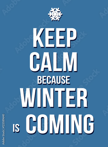 Keep calm because winter is coming poster
