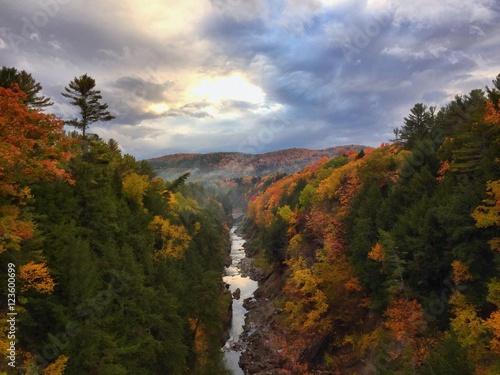 Vermont Autumn Sunset Overlook the Bridge