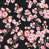 Fototapety Seamless pattern with cherry blossoms. Watercolor illustration.