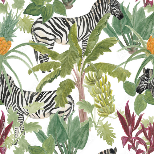 Watercolor painting seamless pattern tropical, palm trees, bananas, pineapples and zebra Tropical garden. - 123614269