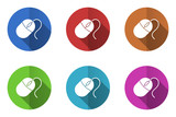 Flat design colorful mouse vector icons