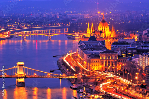 Papiers peints Bleu fonce Budapest from the air, beautiful panorama at night, Hungary