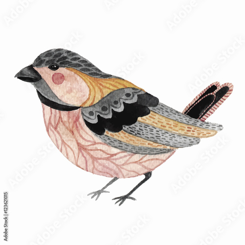 Watercolor cute little bird. - 123621015