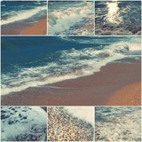 Collage of sea images in day time toned with copyspace