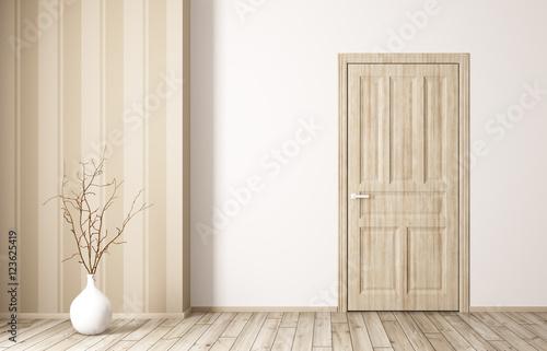 Wnętrze pokój z drewnianym drzwi 3d renderingiem