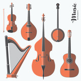 Vector string music instruments. Stylized geometric flat illustration musical kit for icon, banner, poster, flyer design. Violin, Contrabass, mandolin, guitar, banjo and harp illustration set.