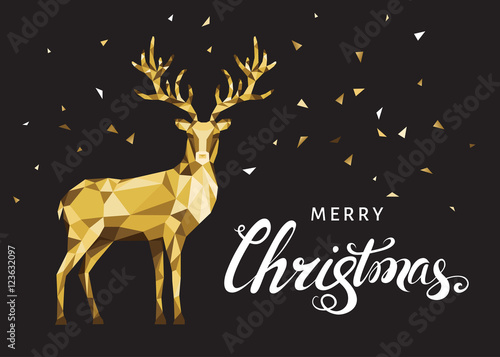 Aluminium Hipster Hert Christmas greeting card with gold polygonal deer on black back