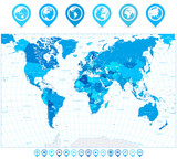 World Map in colors of blue and map pointers
