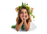 Cute girl with crown of flowers