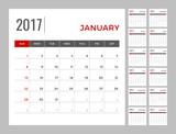 Calendar 2017 planning template for 12 months