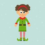 cartoon christmas elf girl