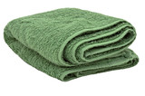 Green towel, isolated on white background