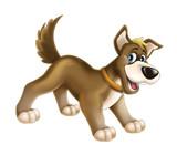 Cartoon happy dog - farm animal - isolated - illustration for children - 123669437