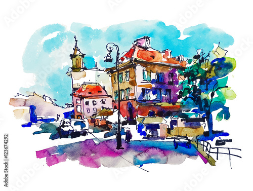 watercolor sketching old town historical buildings Warsaw capita - 123674292