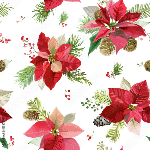 Vintage Poinsettia Flowers Background - Seamless Christmas Pattern - 123678084
