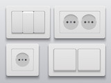 Vector modern power socket and light switch icon - 123679028
