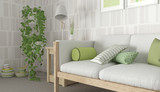 Green & White scandinavian interior