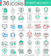 Vector Cyber security modern color flat line outline icons for apps and web design.