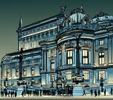 Paris, opera Garnier at night