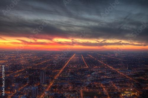 Billede Chicago city lights at dusk.