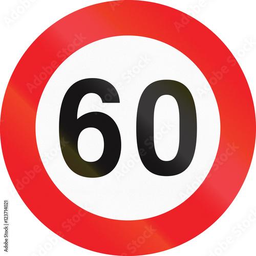 Poster Belgian regulatory road sign - Maximum speed limit