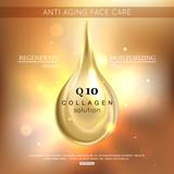 Collagen solution oil drop essence. Coenzyme Q10. Vector illustration EPS 10 format