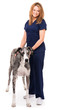 Veterinarian doctor nurse with great dane dog on white
