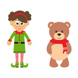 cartoon christmas elf girl and winter bear on a white background