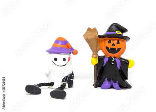 Poster Halloween Ghost dolls isolated in white background